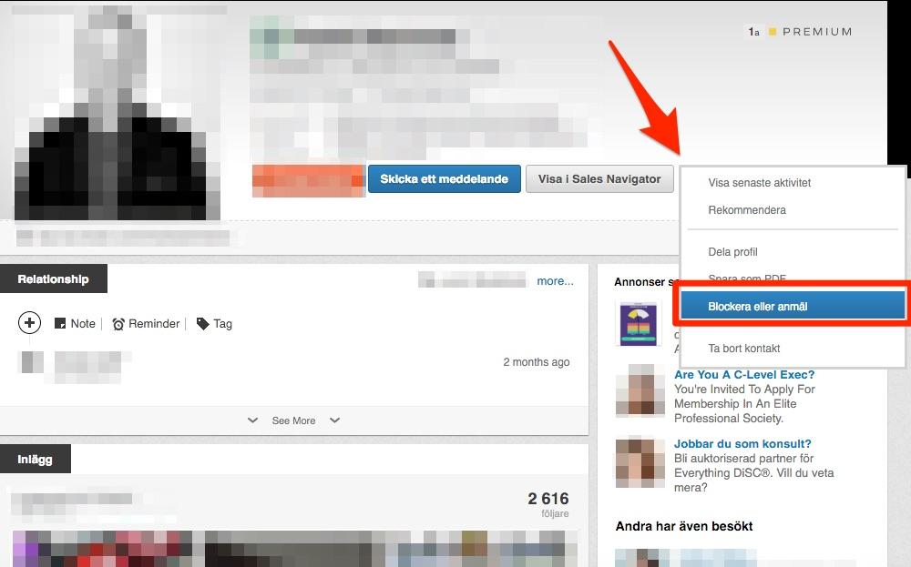 Blockera någon på LinkedIn