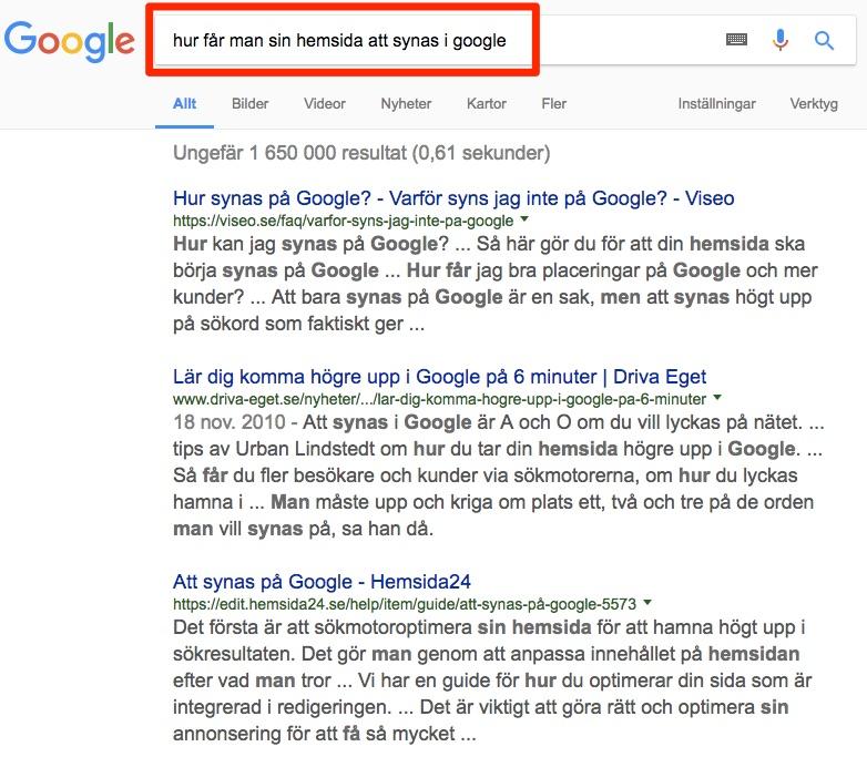 exempel informativa sökord