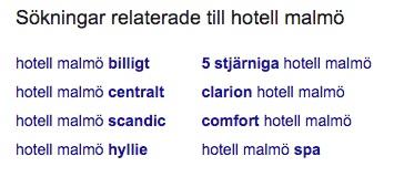 relaterade sökningar i Google